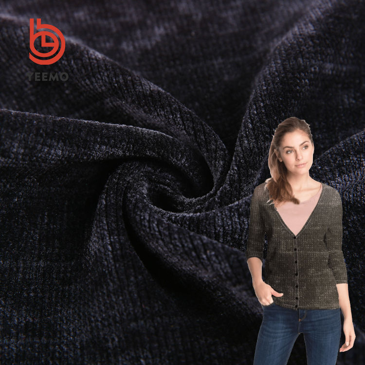 Yeemo textile 19 autumn/winter new design 100 polyester comfortable high weight 1x1 rib knit chenille knitting fabric