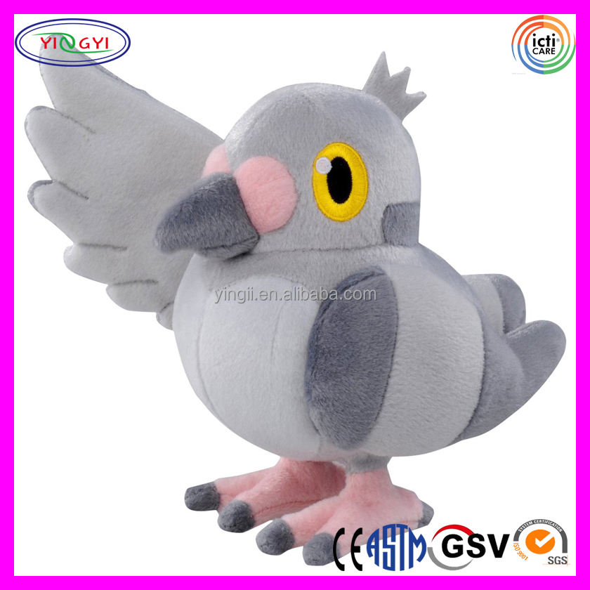 D389 Soft Grey Flying Sky Animal Stuffed Plush Pigeon Soft Toy