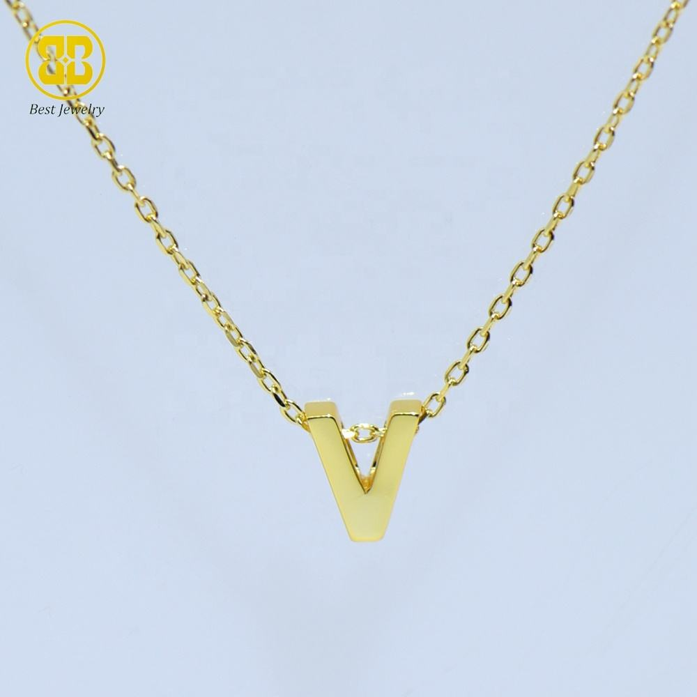 Best Jewelry Dealer 925 Sterling Silver Initial Alphabet Letter V Solid Gold Dainty Mini Chain Choker Personalized Necklace