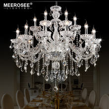 MEEROSEE Clear Crystal Chandelier For Dining Room Glass Arms Chandeliers Luxury Hotel Project Lighting MD85492