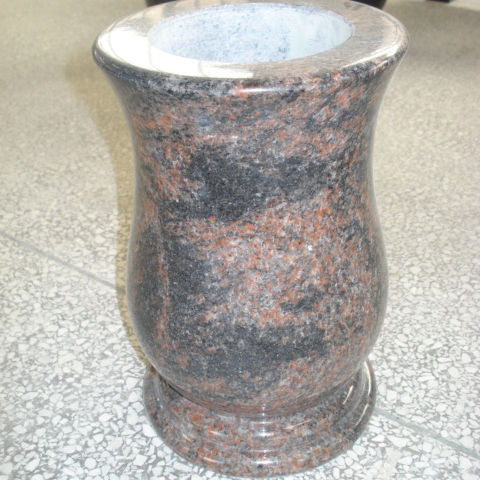 Chinses manufacture high polished red granite vase for grave stone
