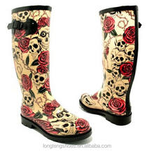 cheap rubber wellington boots skulls and rose print wellington