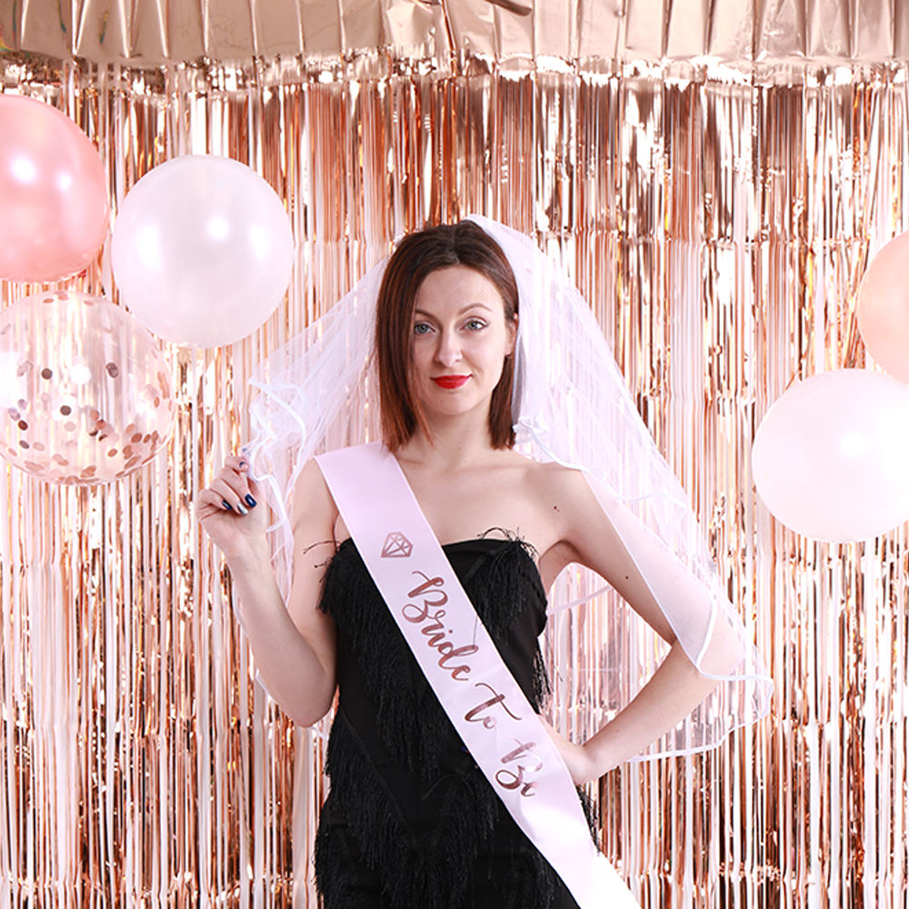 Rifornimenti gallina partito Bride To Be Sash Velo Bachelorette Party oro rosa Kit