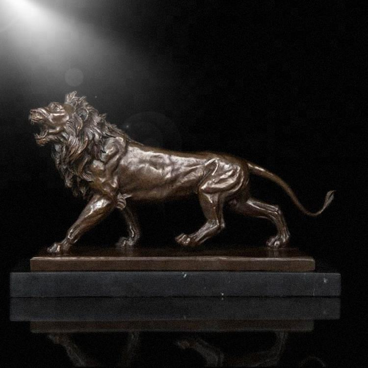 standing brass lion sculpture for home decoration