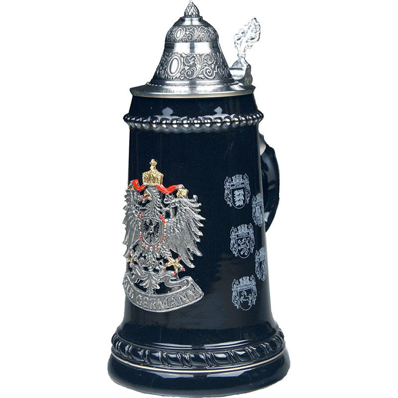 European Style Pewter Coat of Arms Decor Ceramic German Beer Stein With Lid