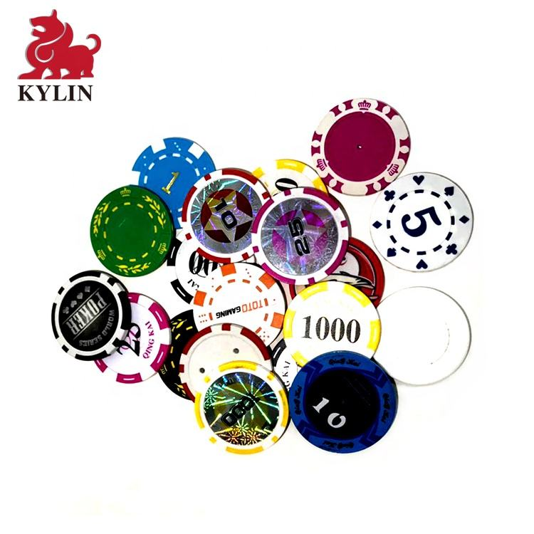 Double sided OEM print premium gamble cheap diameter striped mini plastic clay casino custom poker chips