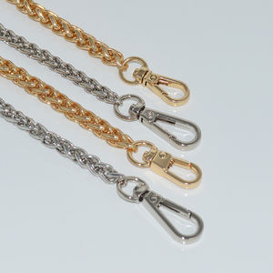 Metal shoulder bag chain with snap hooks shiny gold decorative metal strap purse chain