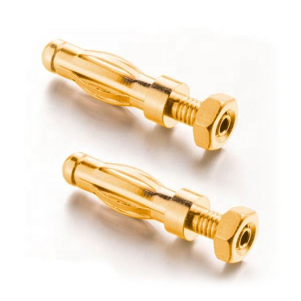 ROHS open hex screw type remote cord female gold plated 4mm banana plug to Jack connector
