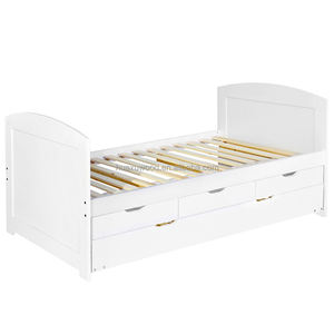 HXLBD-010 Wooden Single Bed Frame Pine Wood With Drawers Trundle Kids Adults Timber Slat
