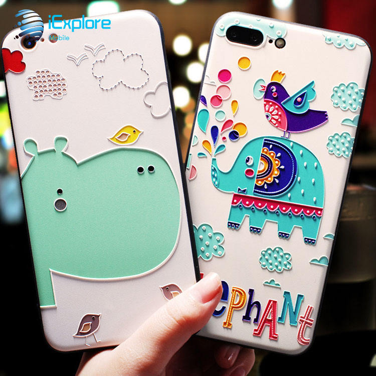 iExplore ultra slim soft TPU 3D embossment color printing cartoon cute animal hippo and elephant girls phone case for iPhone 7 8