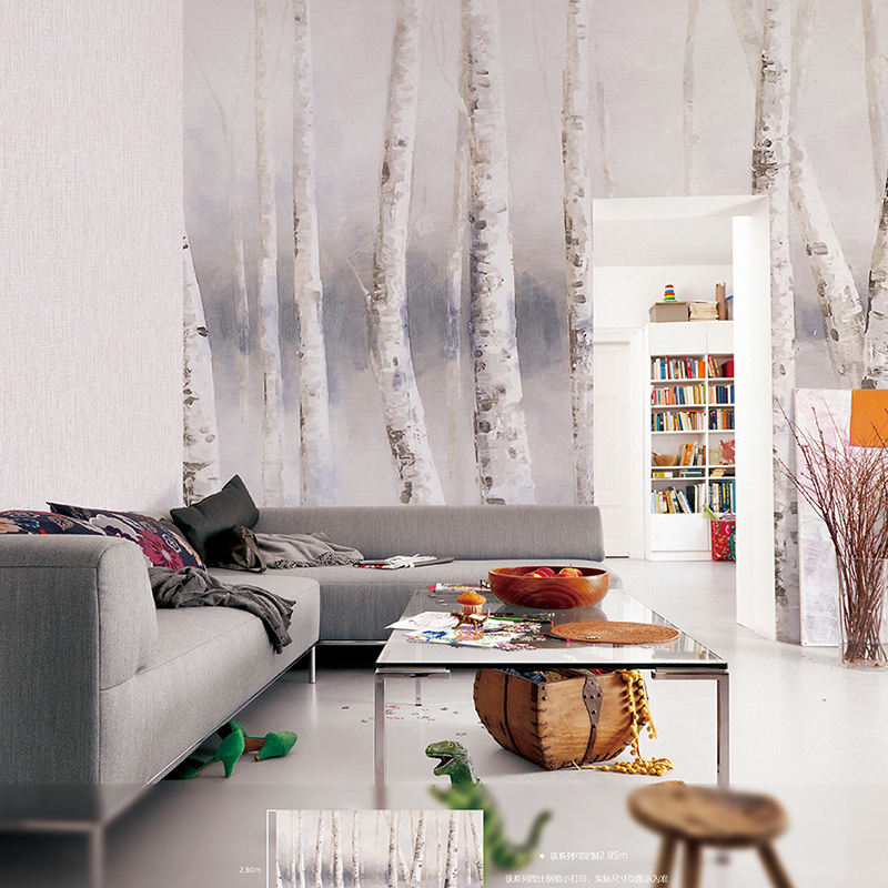 Natural Material Non Woven Wallpapers Moisture-Proof Function Bodhi Birch Tree Wallpaper for Walls
