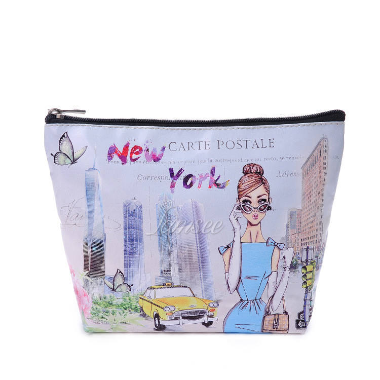 new york london fashion style custom printed design makeup bag travel beauty case clutch bag