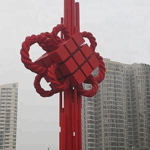 Снаружи товары ручной работы большой городской нержавеющая сталь китайский узел Стиль скульптура