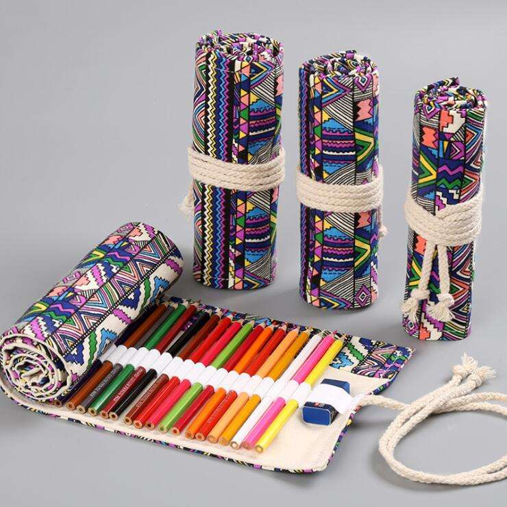 Large capacity portable canvas pencil packaging roll up pencil bag