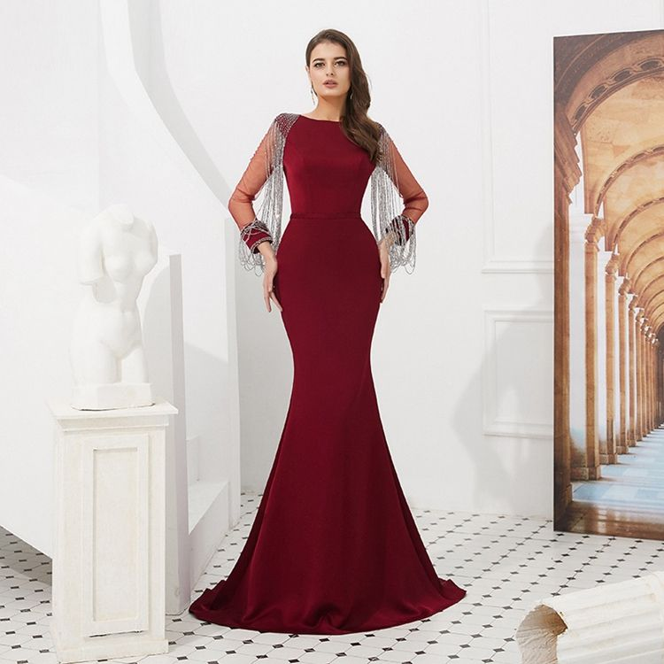 High quality wholesale sleeveless o-neck wine red sequin beaded mermaid prom dress
