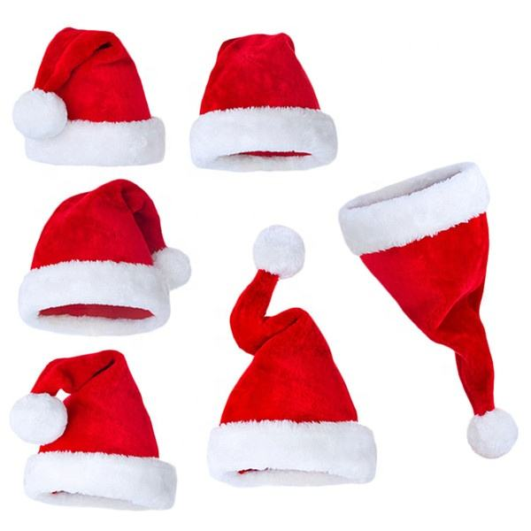 LOW MOQ Cheap New Christmas Gift Party Hat Warm Hat With PomPom OEM Custom Cute Soft Toy Plush Baby Santa Claus Hat Christmas