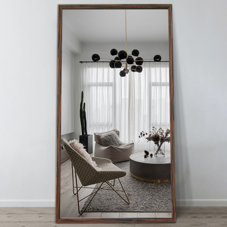 China custom decorative wall design wood framed dress standing mirror for bed room