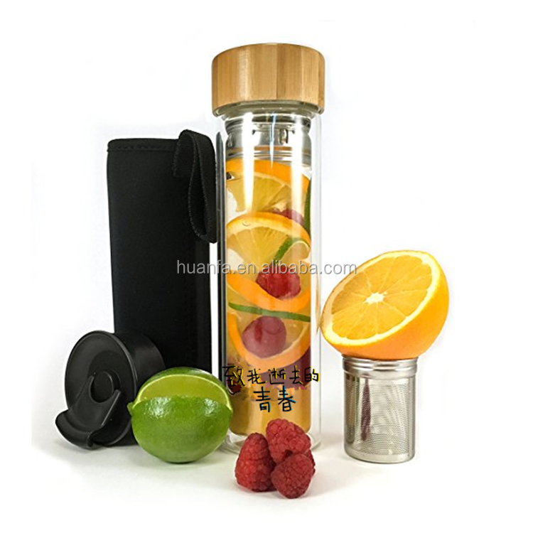 2020 High Quality Tea Infuser Double wall Glass Water Bottle Portable Sport Anti-broken Best Water Bottle with Filter