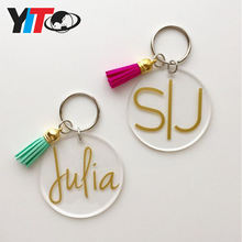Wholesale blank acrylic round  pulitzer monogram keychain with your own logo