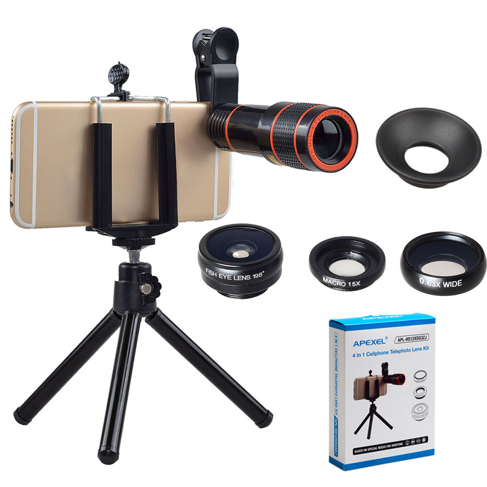 APEXEL 198 degree fisheye wide angle macro zoom 4 in 1 camera lens for mobile phone