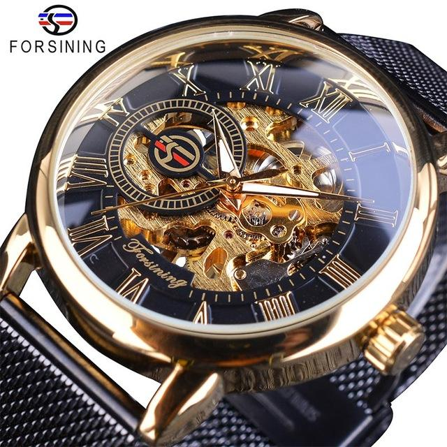Forsining Transparent Case 2017 Fashion Men Watches Top Brand Luxury Mechanical Skeleton Wrist Watch Clock Men