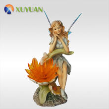 outdoor garden decorative solar powered fairy statue figurine with color changing