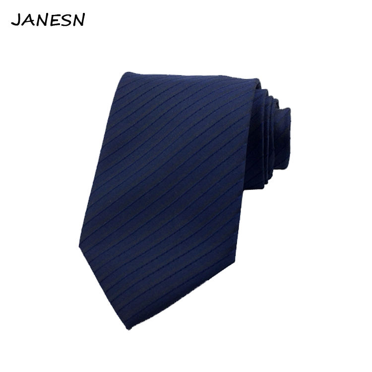 Solid Color Navy Woven polyester Neckties for Mens