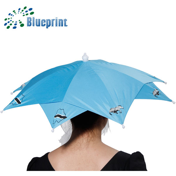 No handle 59.5 cm diameter small head rain umbrella hat OEM