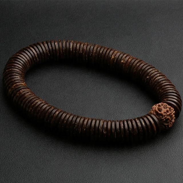 J1598 Tibetan Jewelry Natural Coconut Rudraksha bodhi Stretch Bracelet Men