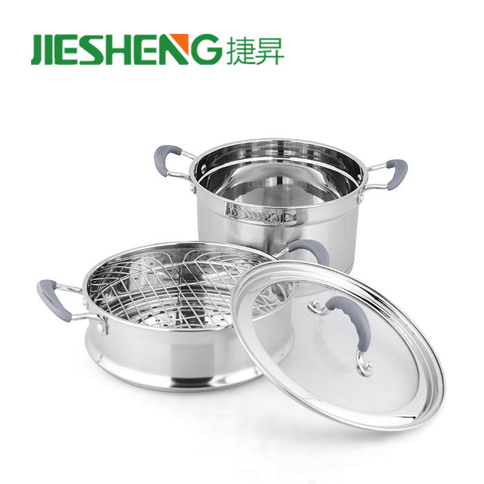 Wholesale stainless cooking pot 2-layer food steamer steel pan steamer