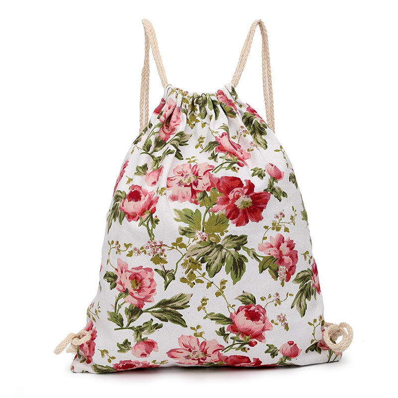 fashion calico Cinch Good Quality Jute Drawstring Backpack