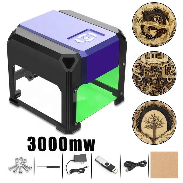 3000MW Portable CNC Laser Engraving Printer Machine, High Speed Mini USB Carver 3D DIY Laser Engraver