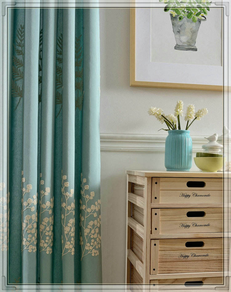 Professional cotton embroidery threads front door curtains