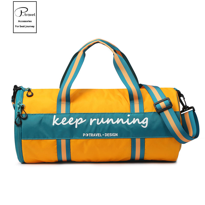 P.travel Nylon Zipper Waterproof Sport training bag Gym Bag with shoe compartment for women