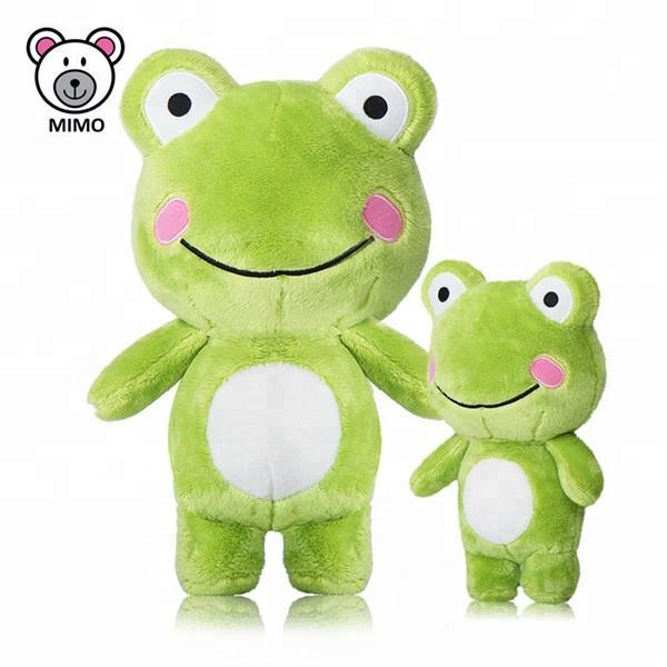 Sweet Baby And Mom Smile Green Frog Plush Toy For Kids LOW MOQ Custom LOGO Cute Cartoon Stuffed Animal Soft Toy Plush Frog