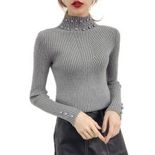 Winter High Neck Long Sleeve Turtleneck Knitted Sweater Pearl Beading Slim Women   Sweater Pullover