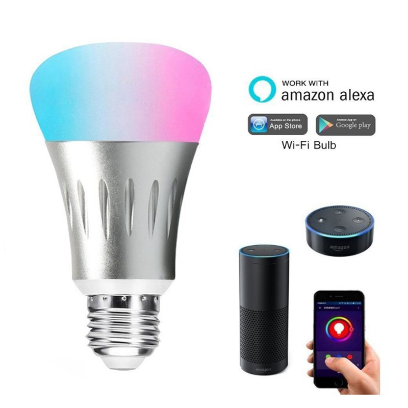 Amazon Alexa E27 Smart Bulb Wifi LED Light Bulbs RGB Multi Color wifi smart led light lamps