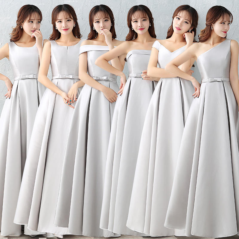 ZH1135L High quality satin long bridesmaids dresses A line evening gown party dress