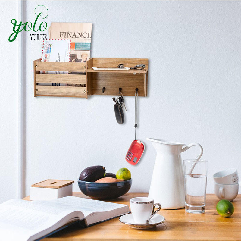 Bamboo Wall Shelf Mail Organizer with 3 Metal Hooks