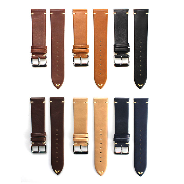 2020 New Italian Genuine leather handmade 20mm watch bands leather watch straps with buckle