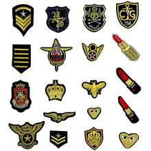 Gold Thread Embroidery Iron On Patches For Clothing Sew On Fabric Stickers For Clothes Patches DIY Patchwork P767