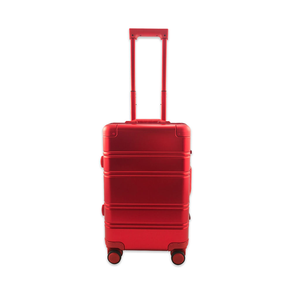 Strong Wheeled Red Aluminum Material Hard Case Luggage