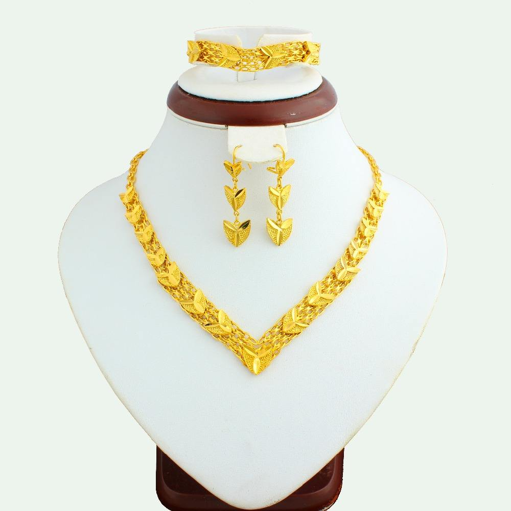 Latest design gold jewellery dubai jewelry sets 18k gold jewelry half set