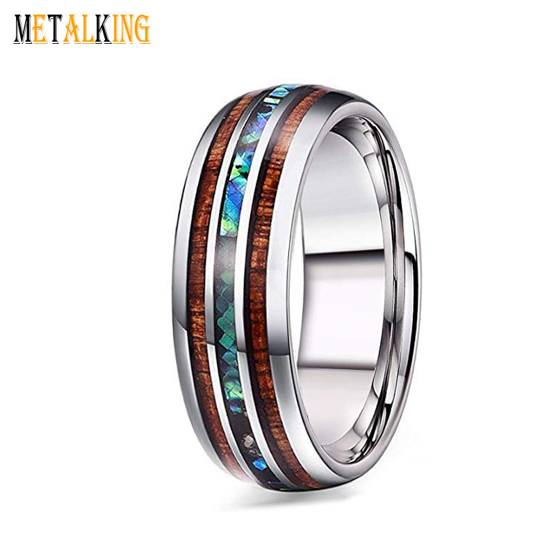 8mm Hawaiian Koa Wood and Abalone Shell Tungsten Carbide Rings Wedding Bands for Men