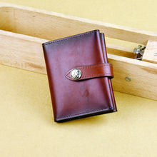 Best Real Handmade Mens Slim Vegetable Tanned Cow Leather Card Holder Wallet Women 5009