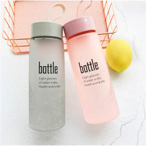 520ml wheat straw plastic water bottle with rope, frosted glass spray bottle Wholesale