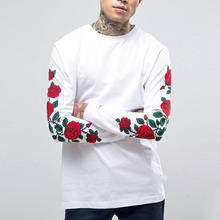 japanese clothing high quality white basic t shirt rose printed full sleeve t shirt for men