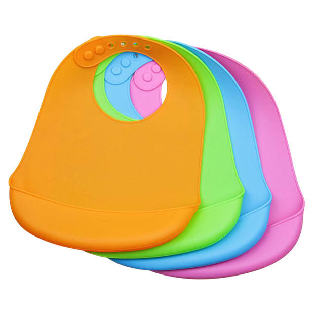 Basic Plain Food Grade Silicone Baby Bib for Printing Customized Picture
