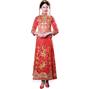2018 Chinses Traditional Embroidery Red Bridal Gown For Wedding