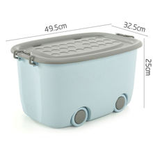 Factory made Plastic Storage Box With Wheels, Colorful storage container